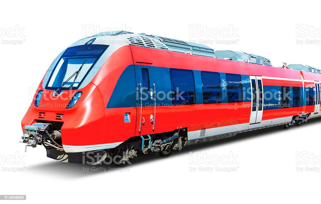 Modern high speed train isolated on white stock photo