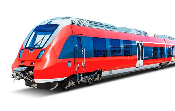 modern high speed train isolated on white - train photos et images de collection