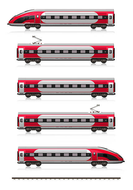 Modern high speed train set Creative abstract railroad travel and railway tourism transportation industrial concept: modern high speed train set (locomotive, cars and rail fragment) isolated on white background with reflection effect bullet train stock pictures, royalty-free photos & images