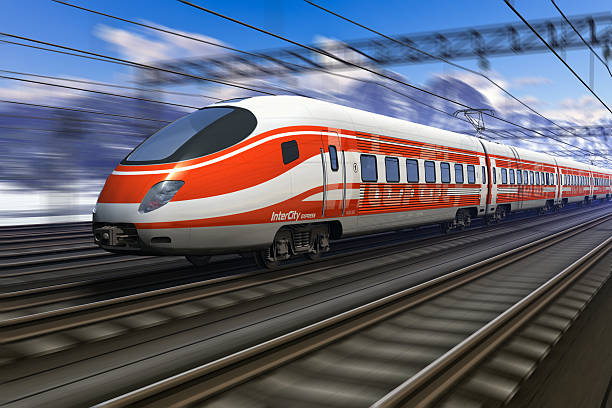Modern high speed train with motion blur See also: electric train stock pictures, royalty-free photos & images