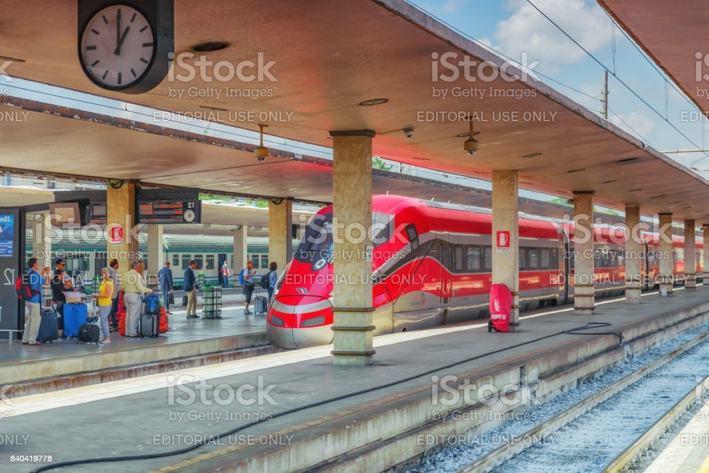 Florence, Italy - May 15, 2017 : Modern high-speed passenger train stand on the Florence  railways station-Firenze Santa Maria Novella. stock photo