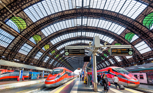 Modern high-speed trains at Milan Central Station