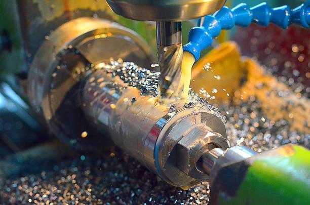 Modern, high-tech, CNC, metal milling machine stock photo