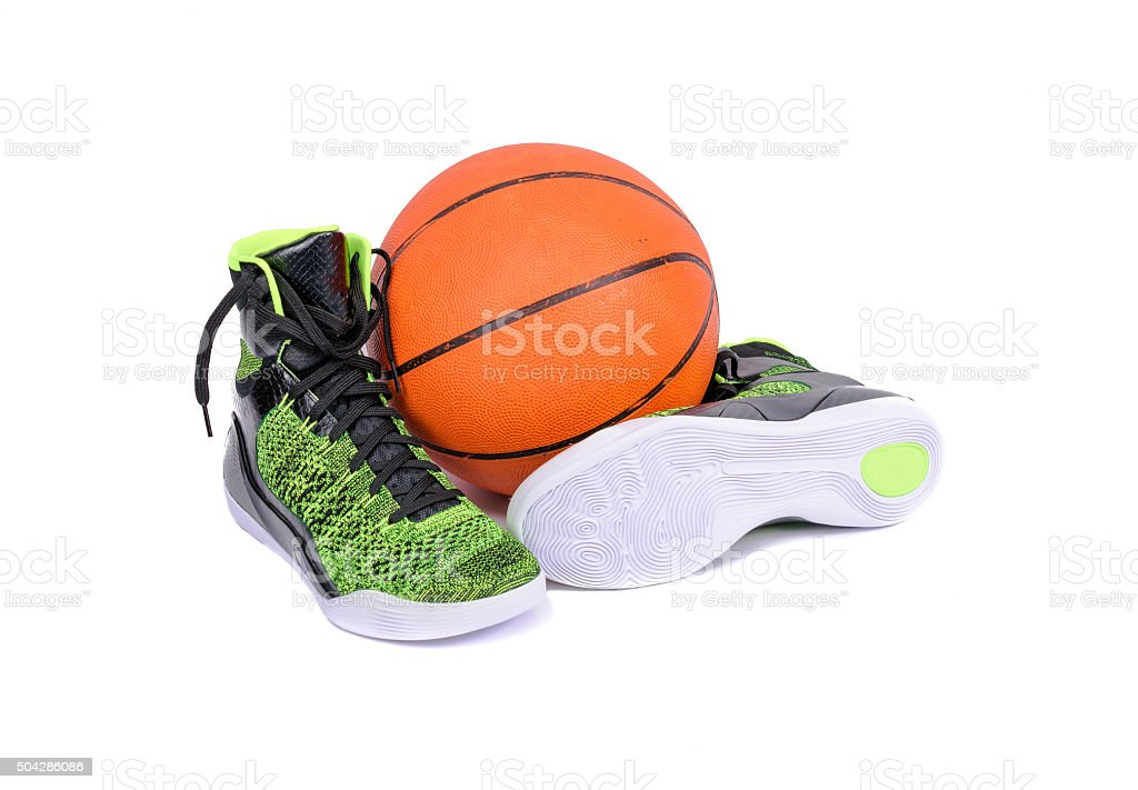 Modern high-top green and black basketball shoe sneaker stock photo