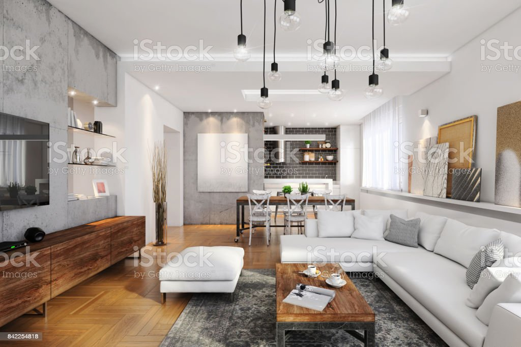 Modern hipster apartment interior stock photo