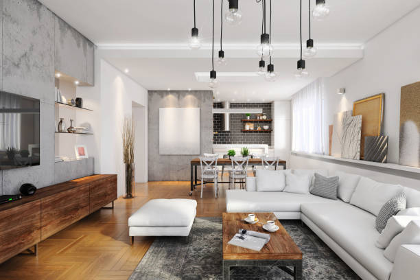 modern hipster apartment interior - modern lifestyle stock photos and pictures