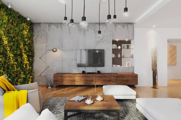 intérieur d'appartement moderne hipster - architecture intérieure beton photos et images de collection