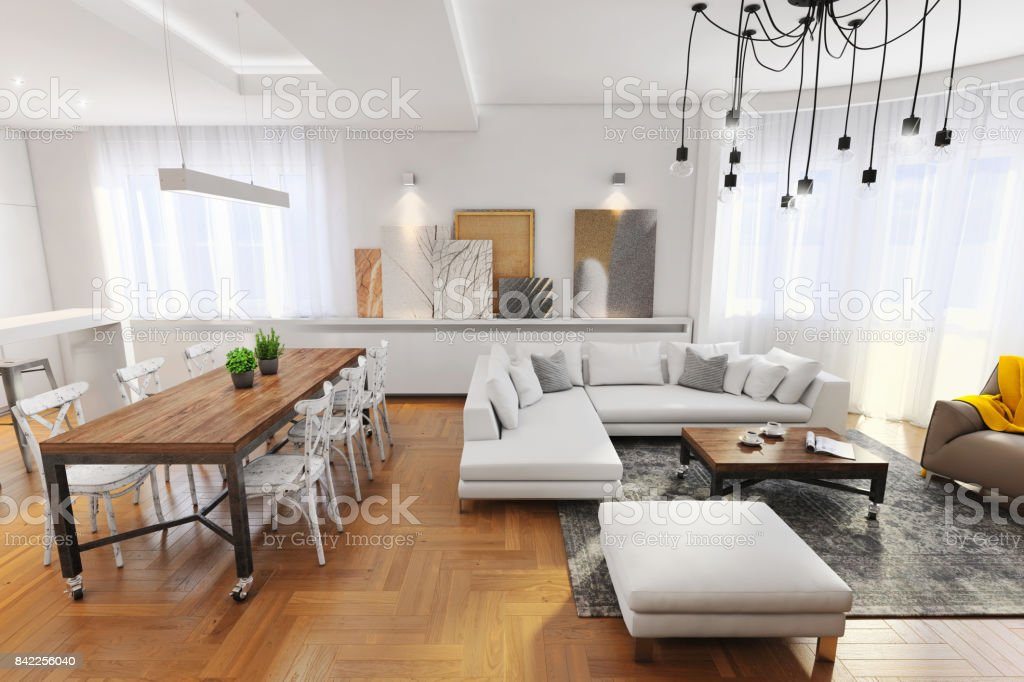 Modern hipster apartment interior stock photo download for Foto interior design