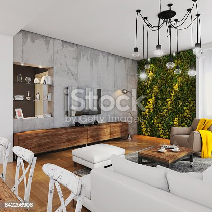 Modern hipster apartment interior. Open space loft, living room with dining room and kitchen in the back. Large white sofa, vintage decorative carpet, coffee table with coffee, seat, dining table with armchairs. Large pendant light. large windows with sunlight, green plant wall. lots of decoration. TV set. interior design copy space. Concrete wall, wooden parquet floor. sunlight render.