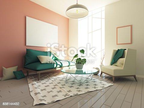 istock Modern hipster interior 3d 838144432