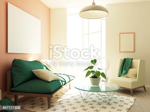 istock Modern hipster interior 3d 847121306