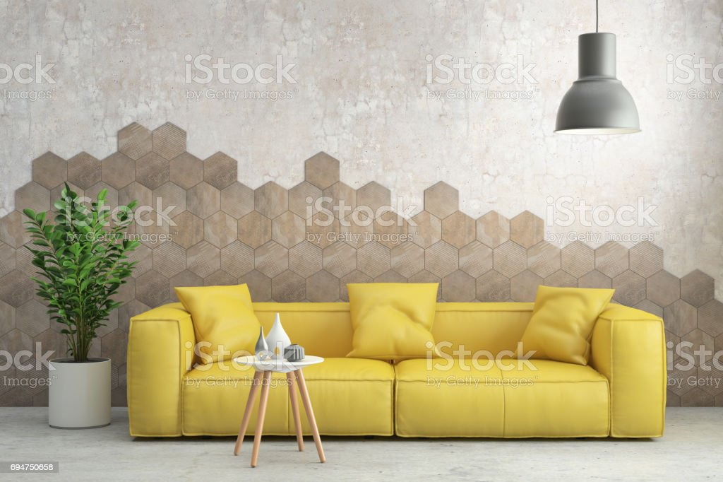 Modern Hipster Interior Living Room With Yellow Sofa Stock ...