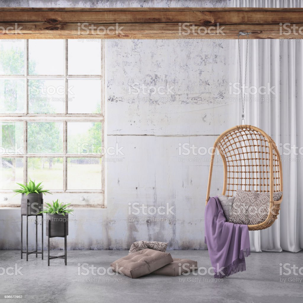 modern hipster interior with pendant chair and window background
