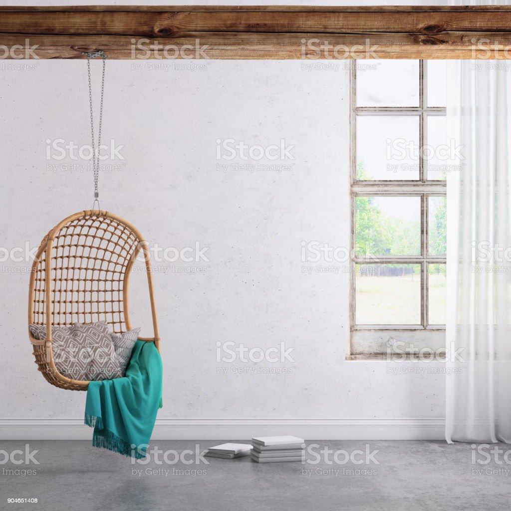Moderne Hipster Interieur Mit Anhänger Stuhl Fenster Und Vorhänge ...