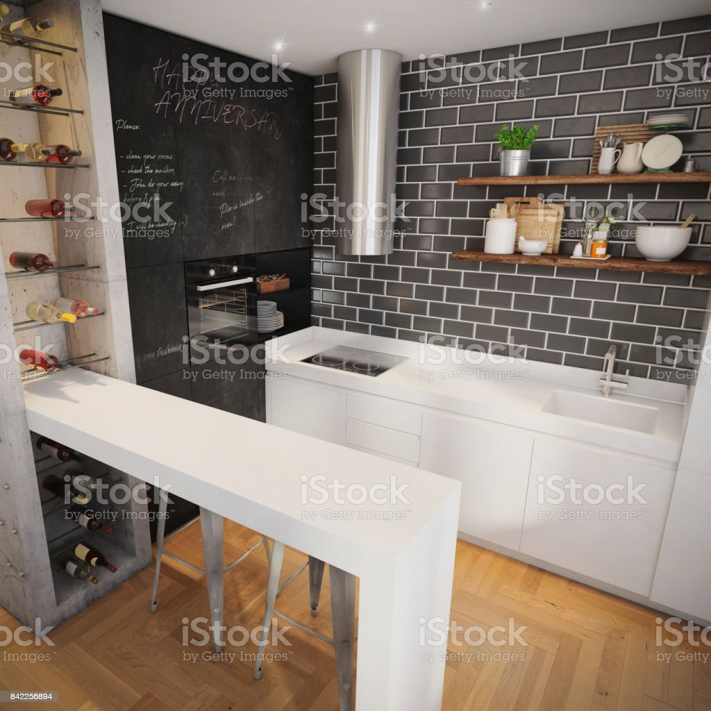 Modern Hipster Kitchen Interior Royalty Free Stock Photo