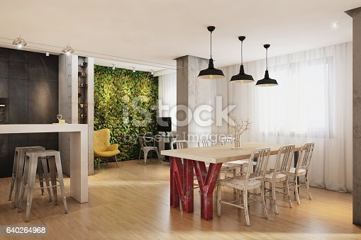 istock Modern hipster vintage apartment interior dining room 640264968