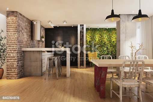 istock Modern hipster vintage apartment interior dining room 640264976