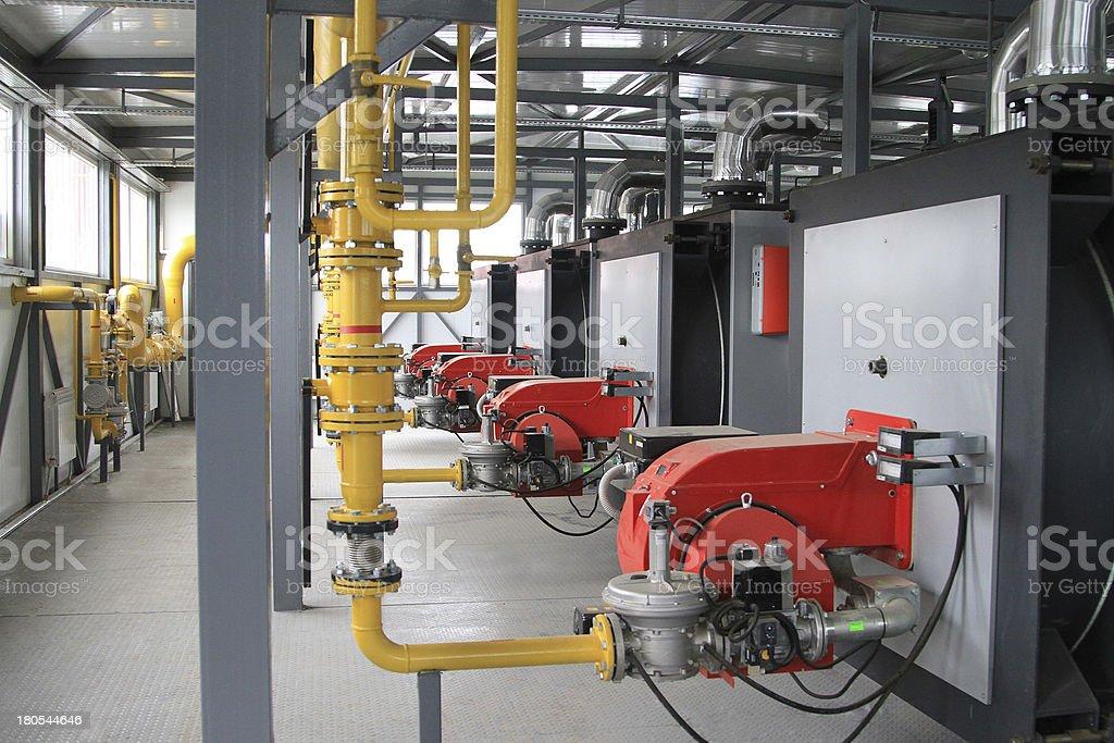 Modern hi-tech gas boiler-house royalty-free stock photo
