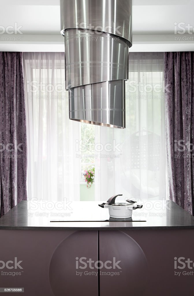 Modern hob and extractor stock photo