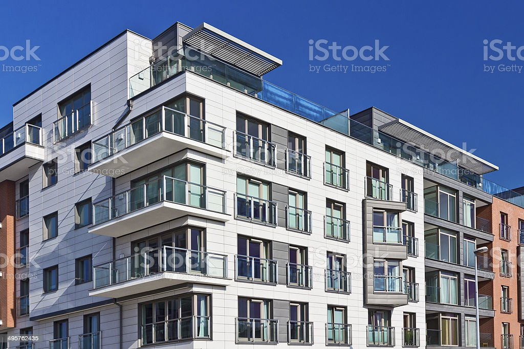 Modern holiday apartment building, Gdansk, Poland stock photo