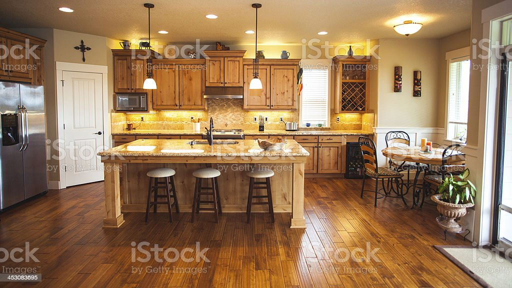Modern Home Domestic Kitchen Island and Counter Top stock photo