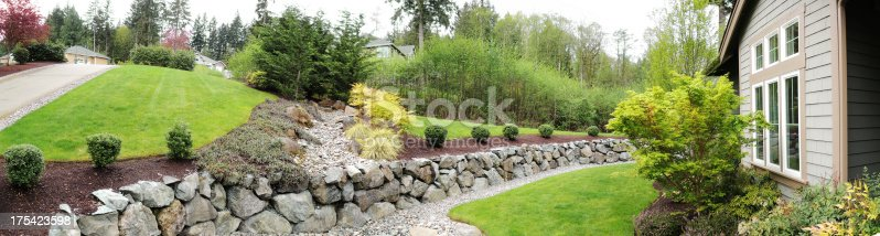 Panoramic photograph of a landscaped modern home front yard with green grass, trees and stone work.