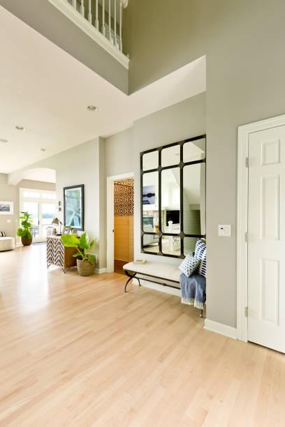 Modern Home Front Door and Entrance Hallway Foyer Interior Design stock photo