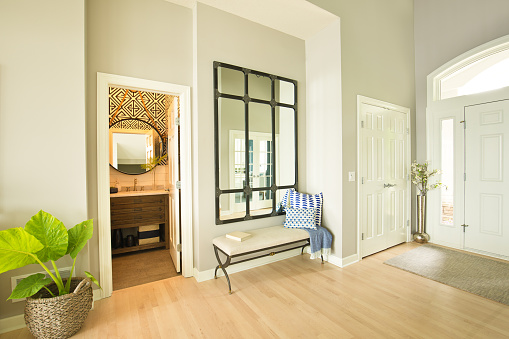 Modern Home Front Door And Entrance Hallway Foyer Interior Design Stock  Photo - Download Image Now - iStock