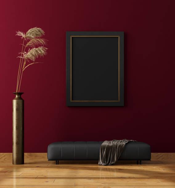 moderner innenausbau, verspottete plakatwand - kariertes hintergrundsbild stock-fotos und bilder