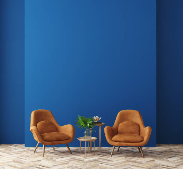 Modern home interior in trendy colors of the Year 2020 Modern home interior in trendy colors of the Year 2020, 3d render armchair stock pictures, royalty-free photos & images