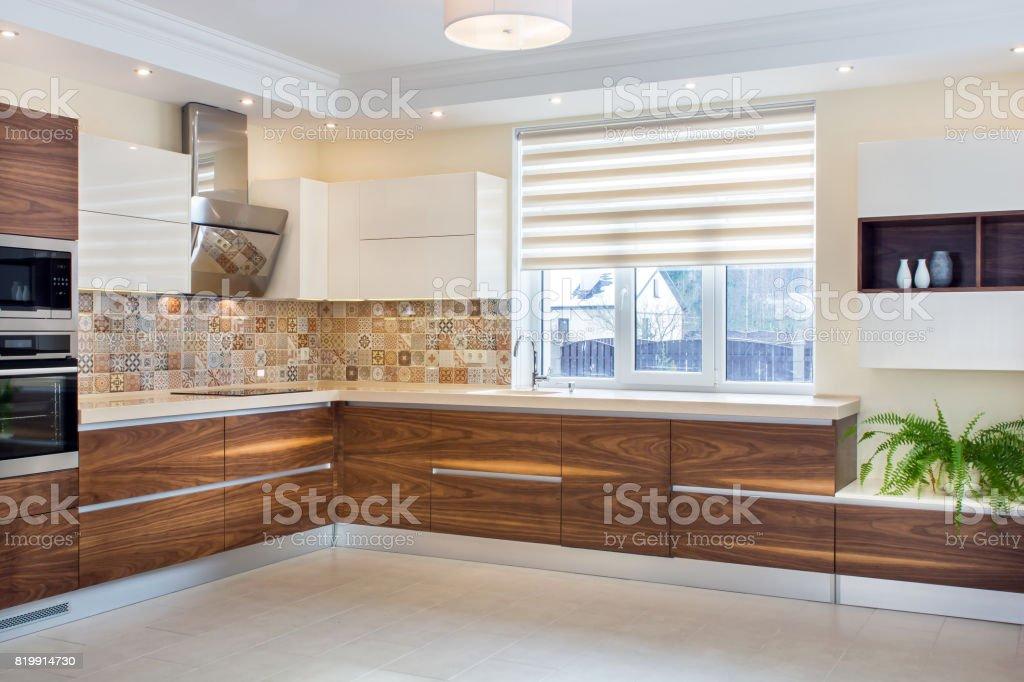 Moderne interieur moderne ontwerp van de keuken in een lichte