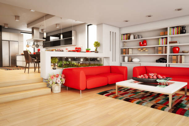 modern home interior - home aquarium stock pictures, royalty-free photos & images