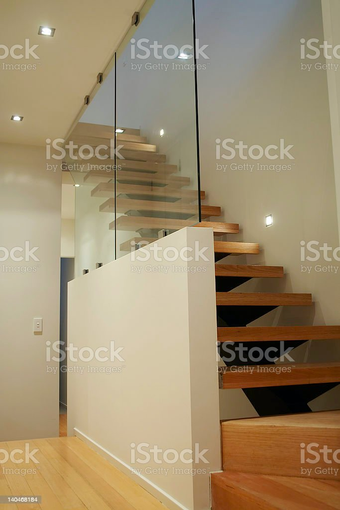 Modern home interior staircase royalty-free stock photo