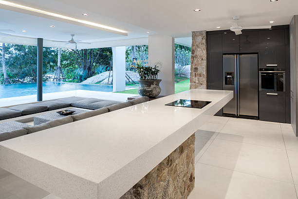 modern home kitchen - hawaii home stock photos and pictures