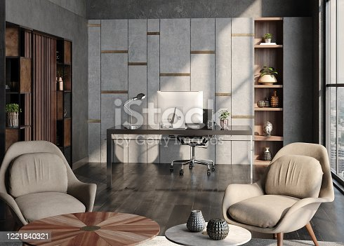 1147023758 istock photo Modern home office interior in loft, industrial style 1221840321