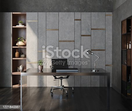 1147023758 istock photo Modern home office interior in loft, industrial style 1221840351