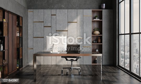 1147023758 istock photo Modern home office interior in loft, industrial style 1221840367