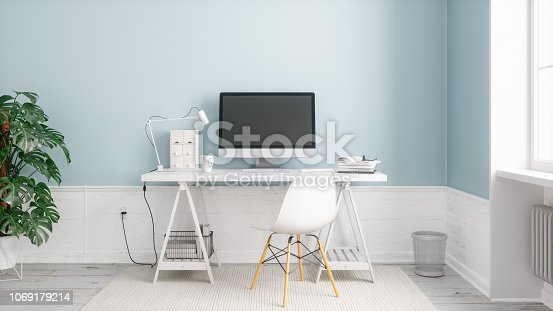 Scandinavian style working space.
