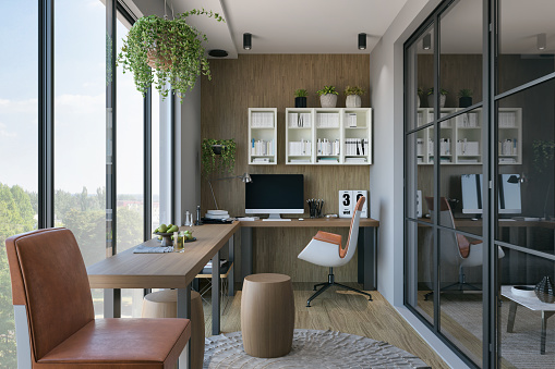 Picture of a modern home office. Render image.