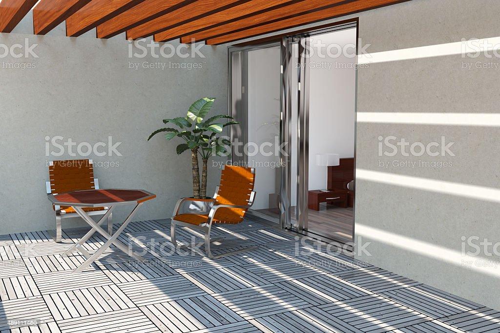 Modern home terrace stock photo