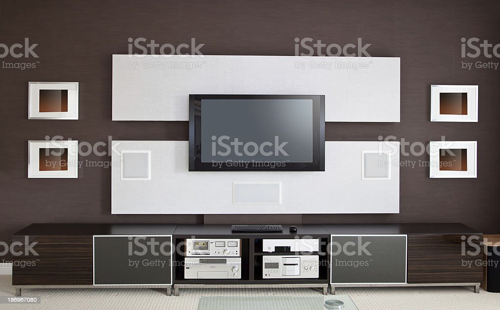 Modern Home Theater Room Interior with Flat Screen TV stock photo