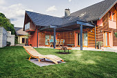 Modern home with back yard