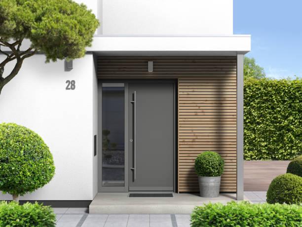 casa moderna com entrada da porta dianteira - fachada - fotografias e filmes do acervo