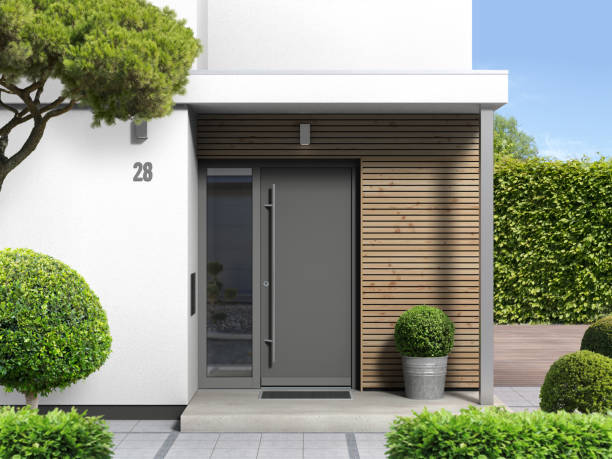 modern home with front door entrance - porta foto e immagini stock