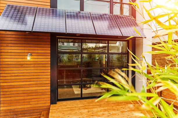 Modern Home with Solar Panel Awning stock photo