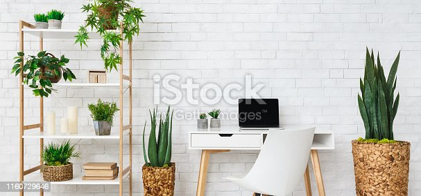 Modern home work place with laptop, and house plants on rack at white brick wall background