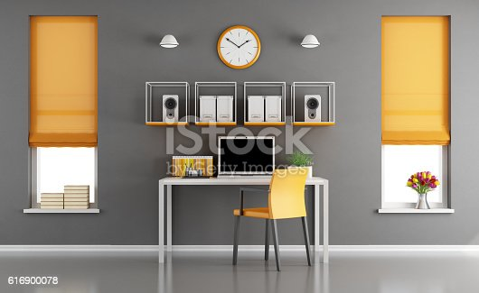 Gray and orange modern workspace with little desk with laptop and two windows - 3d rendering