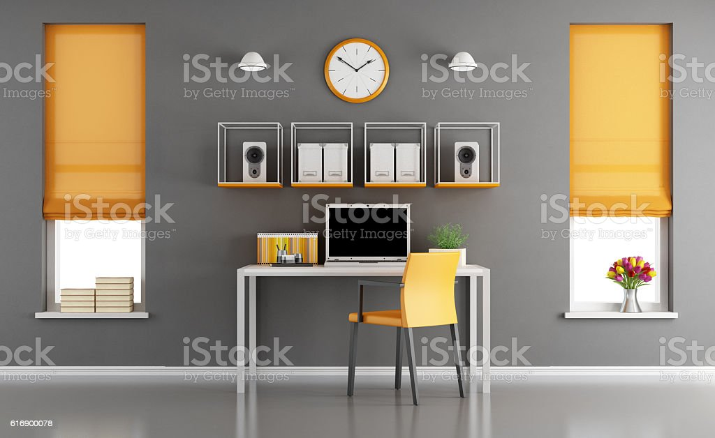 Modern home workspace stock photo