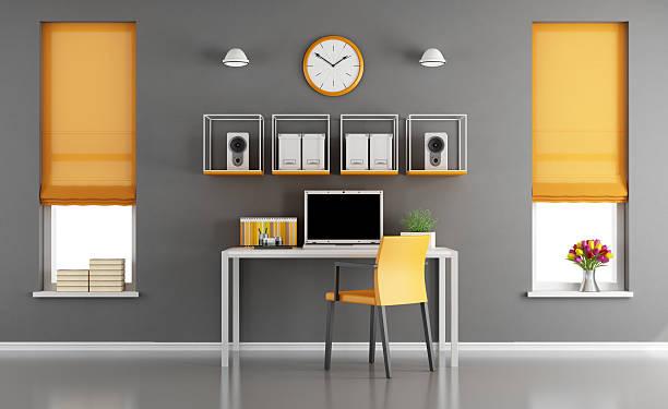 modern home workspace - arbeitszimmer möbel stock-fotos und bilder