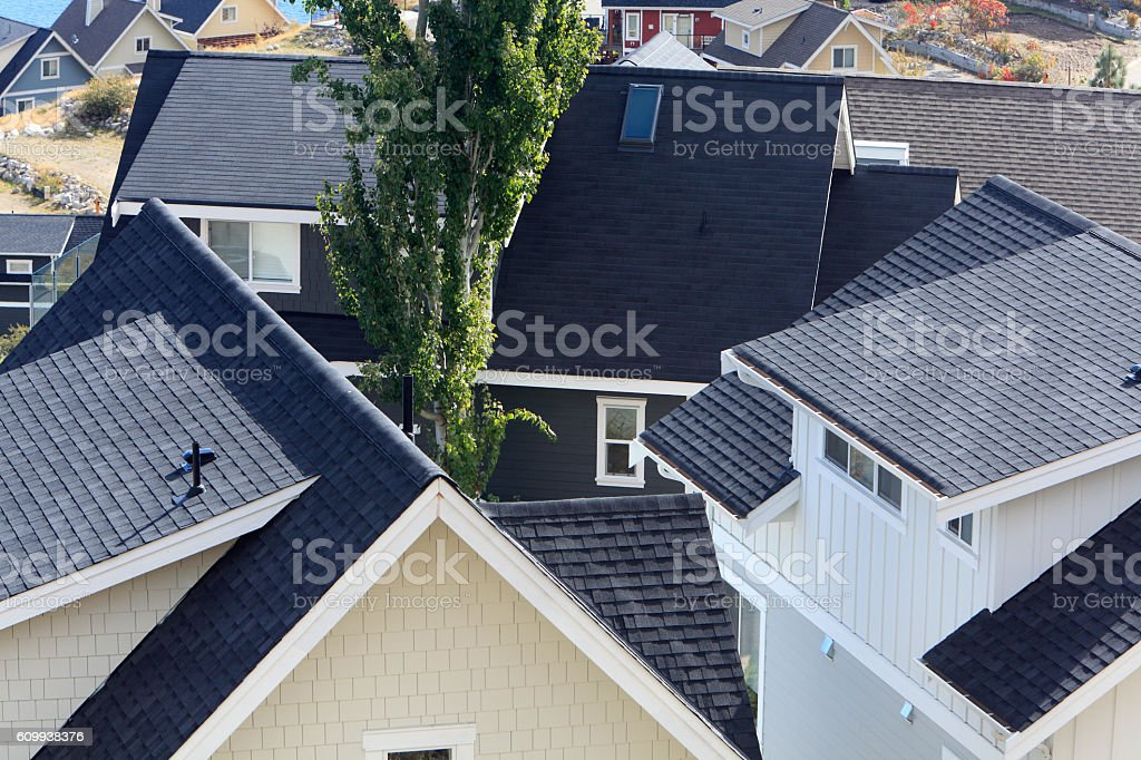 Modern Homes With Asphalt Roofs Up Close and Personal stock photo